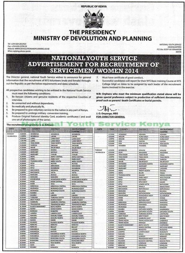 The last NYS recruitment advert. Can opposition CORD demand an audit of the outcome?